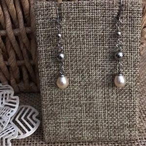 Pearl and stainless Lever Back Earrings
